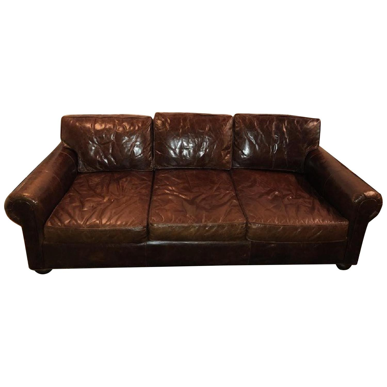 Restoration Hardware Lancaster Leather Sleeper Sofa