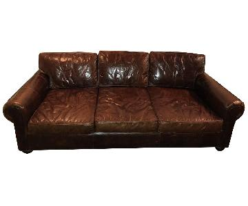 Restoration Hardware Lancaster Leather Sleeper Sofa