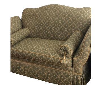 Schumacher Green w/ Gold Upholstered Settee