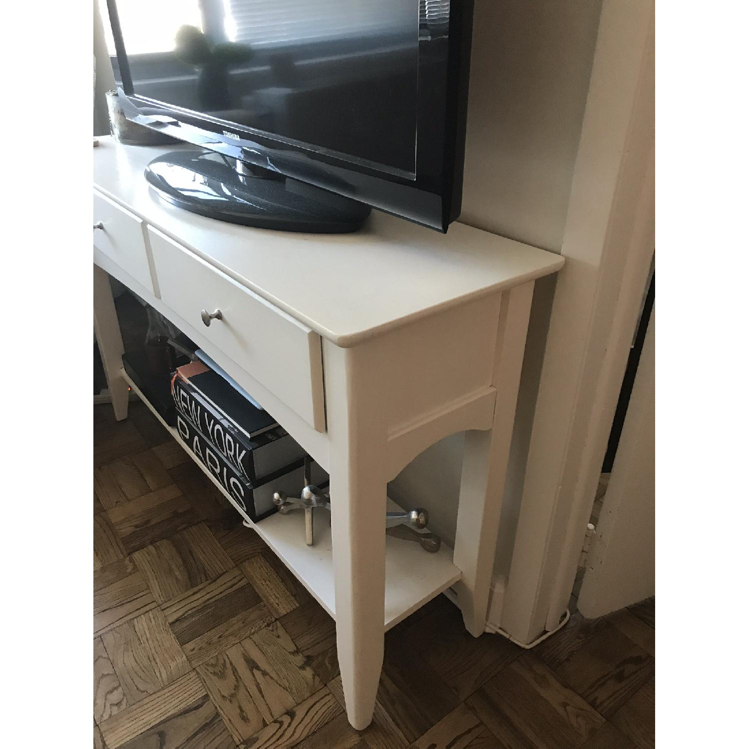 White Solid Wood TV Stand/ End Table-0
