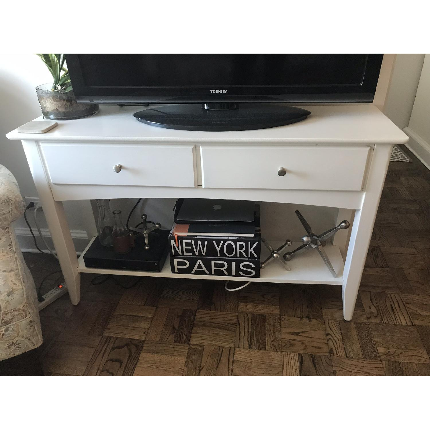White Solid Wood TV Stand/ End Table-1