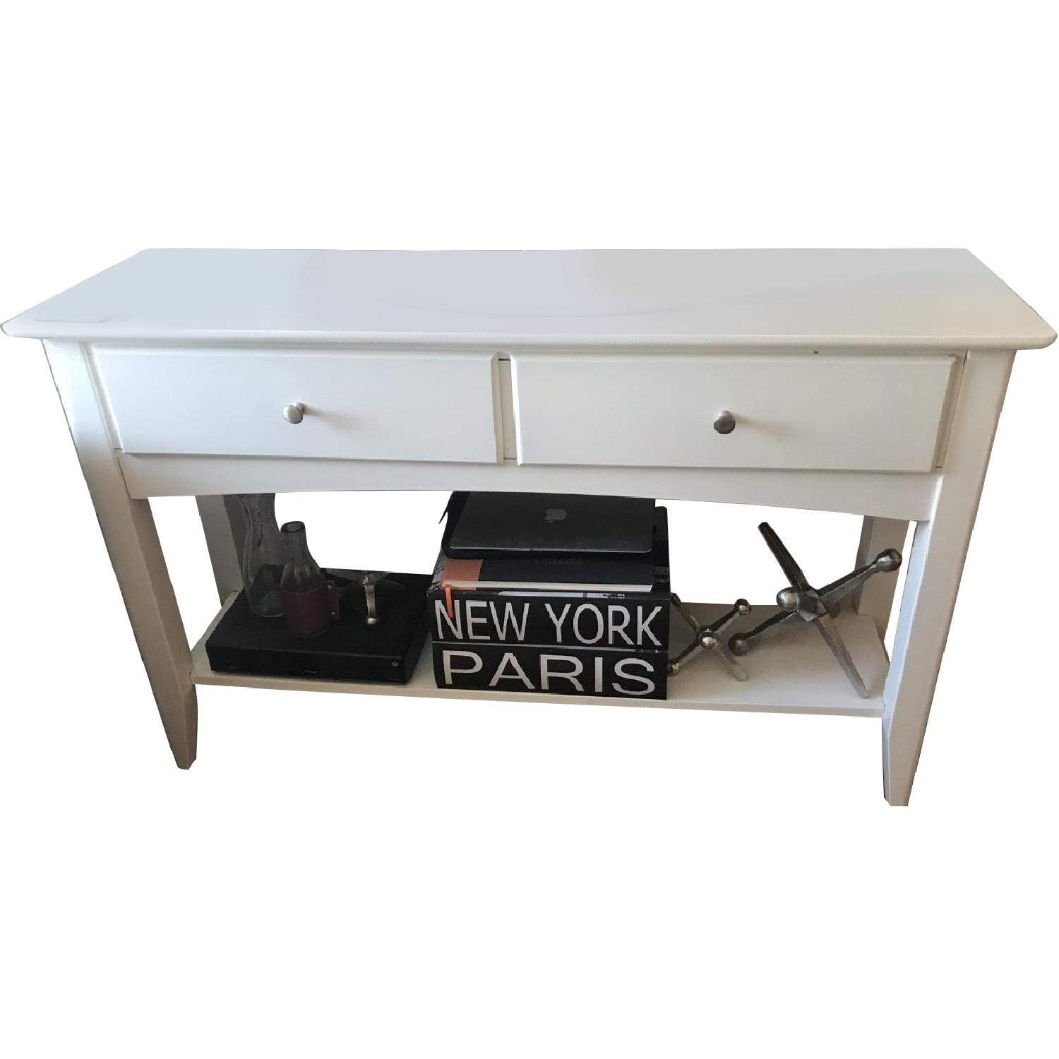 White Solid Wood TV Stand/ End Table