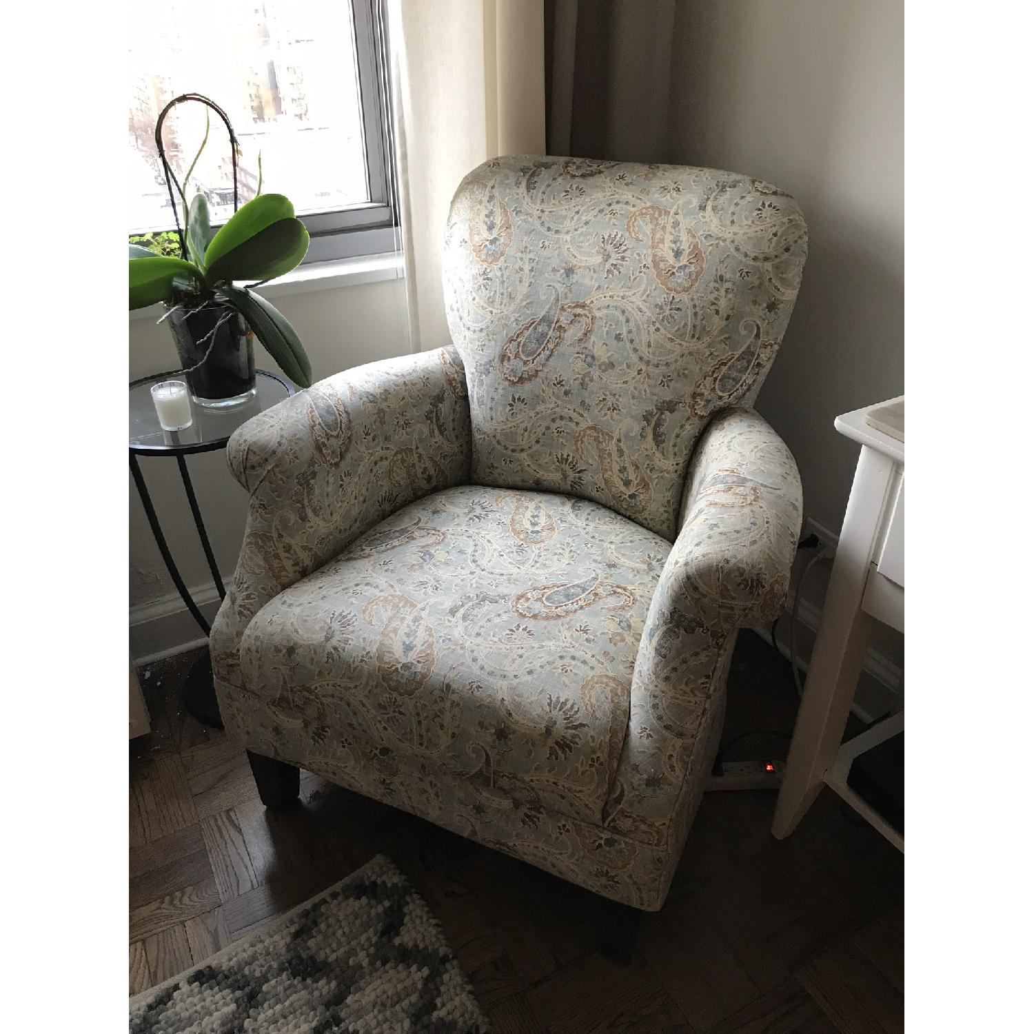 Paisley Print Fabric Accent Chair-0