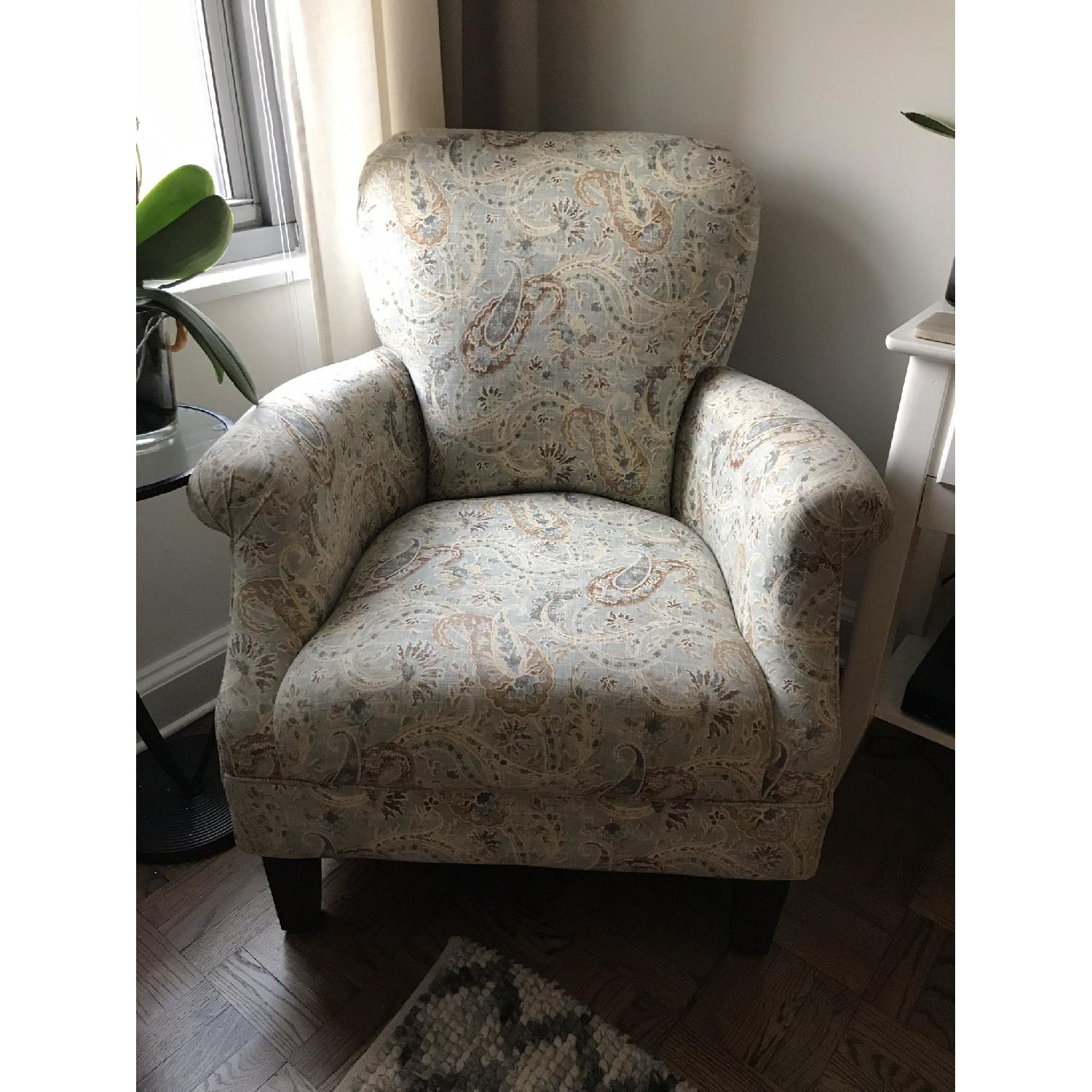 Paisley Print Fabric Accent Chair-1