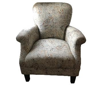 Paisley Print Fabric Accent Chair