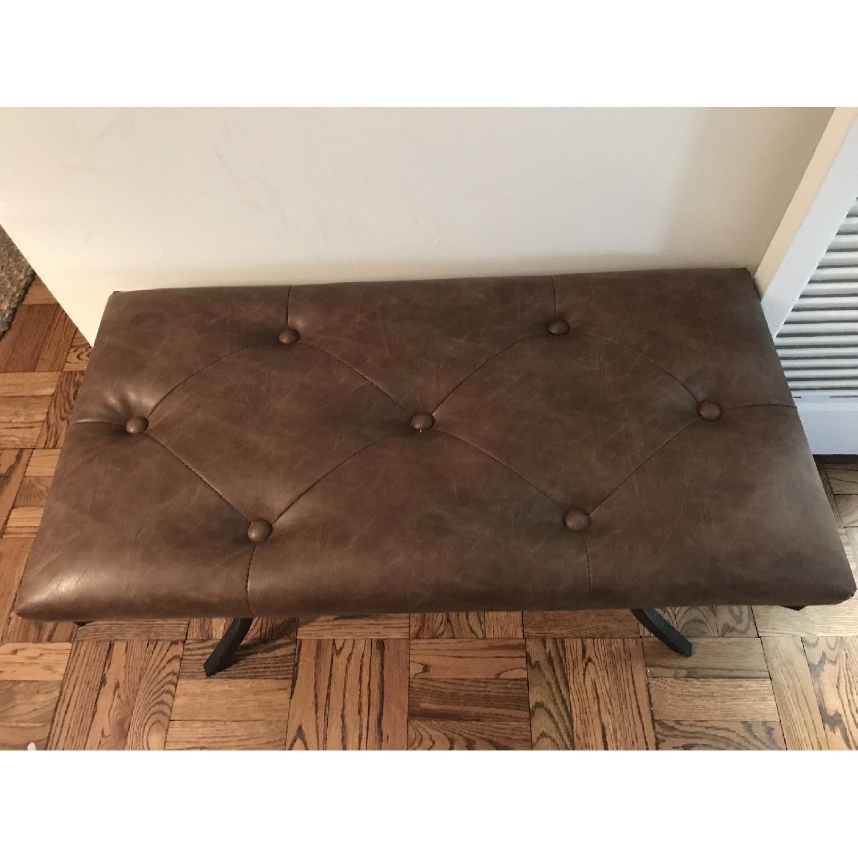 Faux Leather Bench w/ Metal Base-1