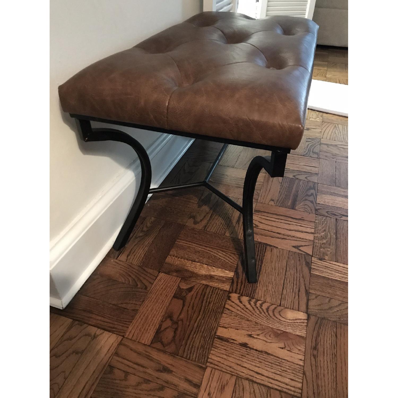 Faux Leather Bench w/ Metal Base-2