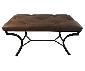 Faux Leather Bench w/ Metal Base