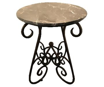 Marble Accent End Table w/ Metal Base