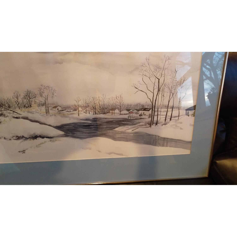 Roseann Drew Leute Watercolor Painting Winter Village Scene-3