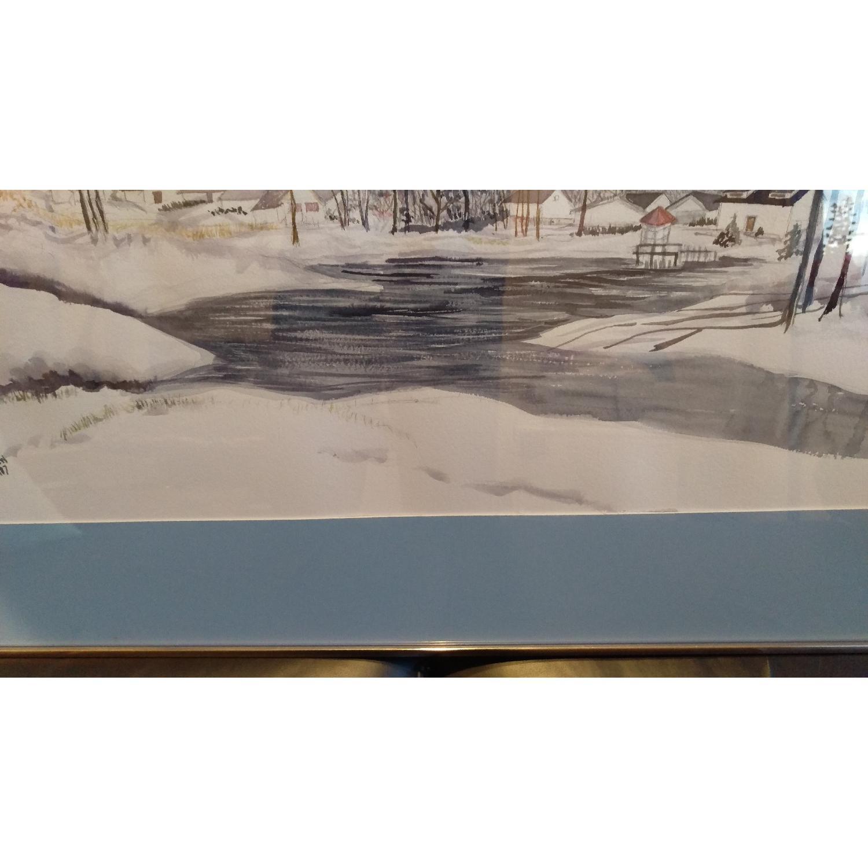 Roseann Drew Leute Watercolor Painting Winter Village Scene-5