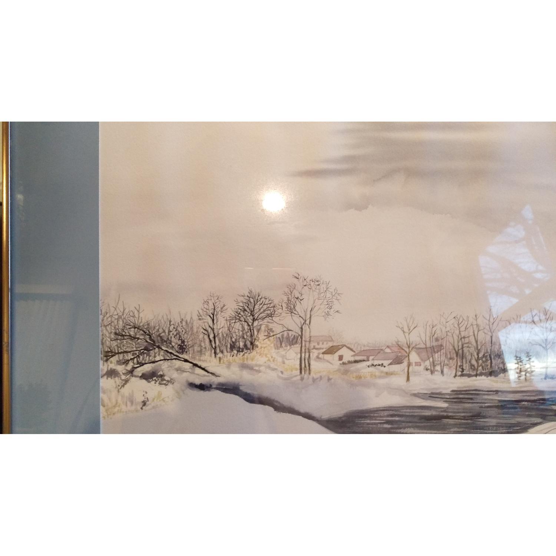 Roseann Drew Leute Watercolor Painting Winter Village Scene-6