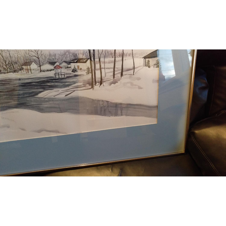 Roseann Drew Leute Watercolor Painting Winter Village Scene-7