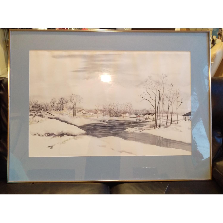 Roseann Drew Leute Watercolor Painting Winter Village Scene-9