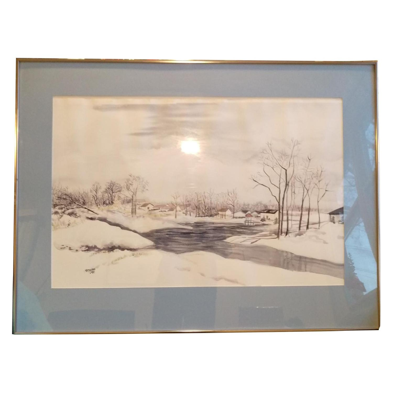 Roseann Drew Leute Watercolor Painting Winter Village Scene