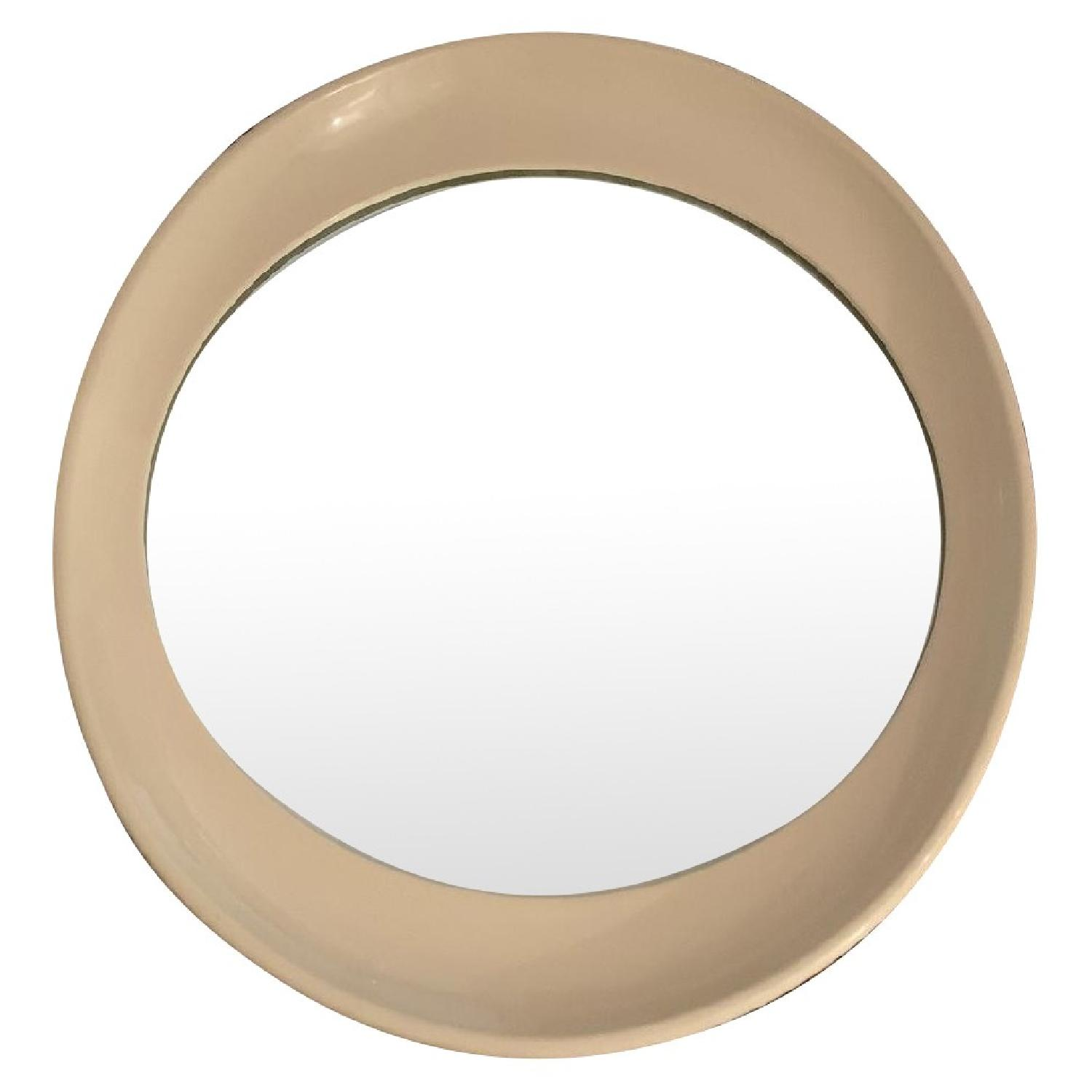 Antique Beige Framed Oval Mirror