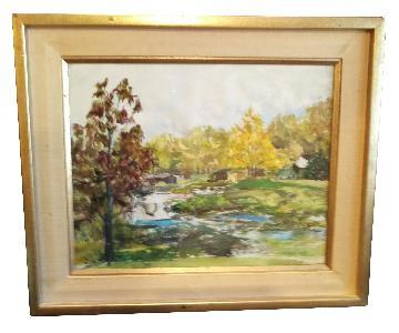 Roseann Drew Leute Watercolor Painting Cabins Waterfall