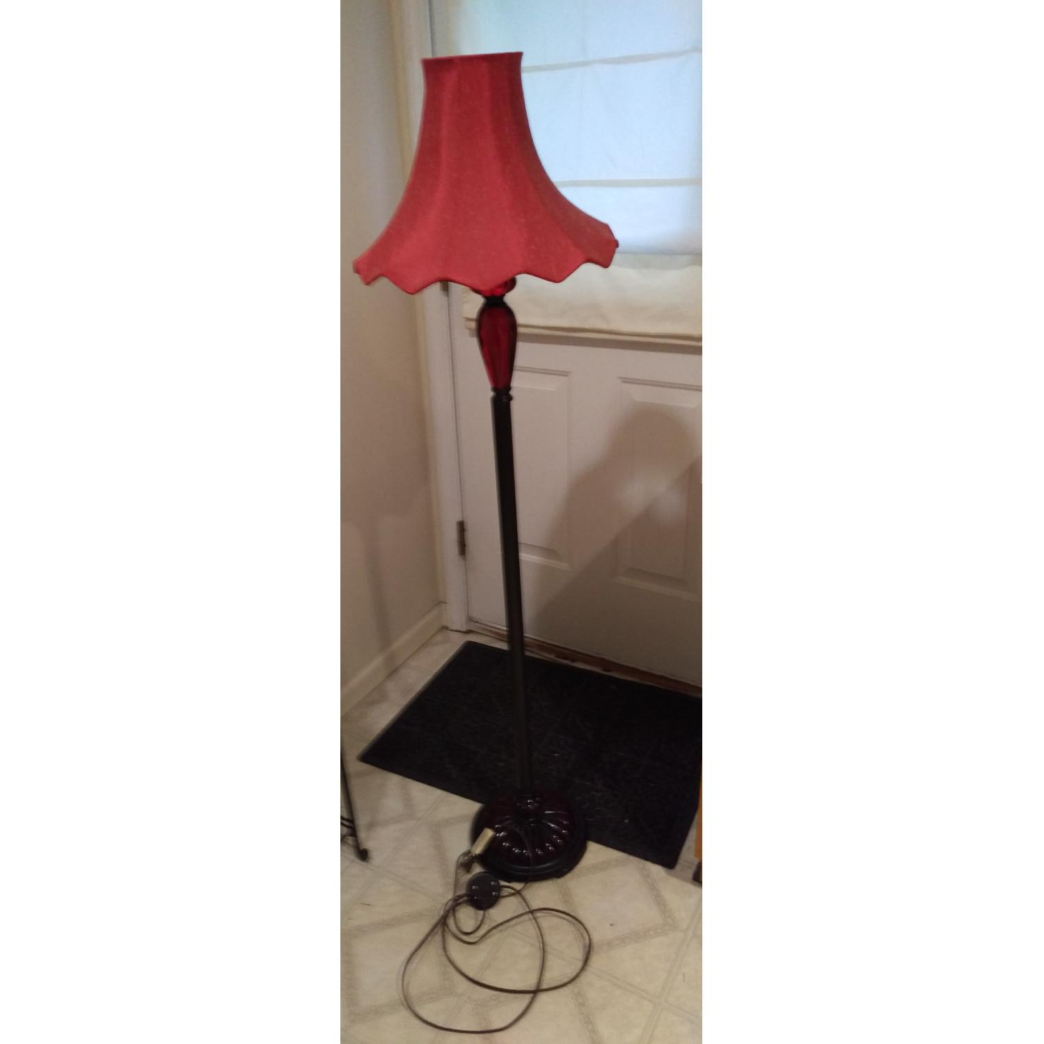 Torchiere Floor Lamp w/ Red Shade-2