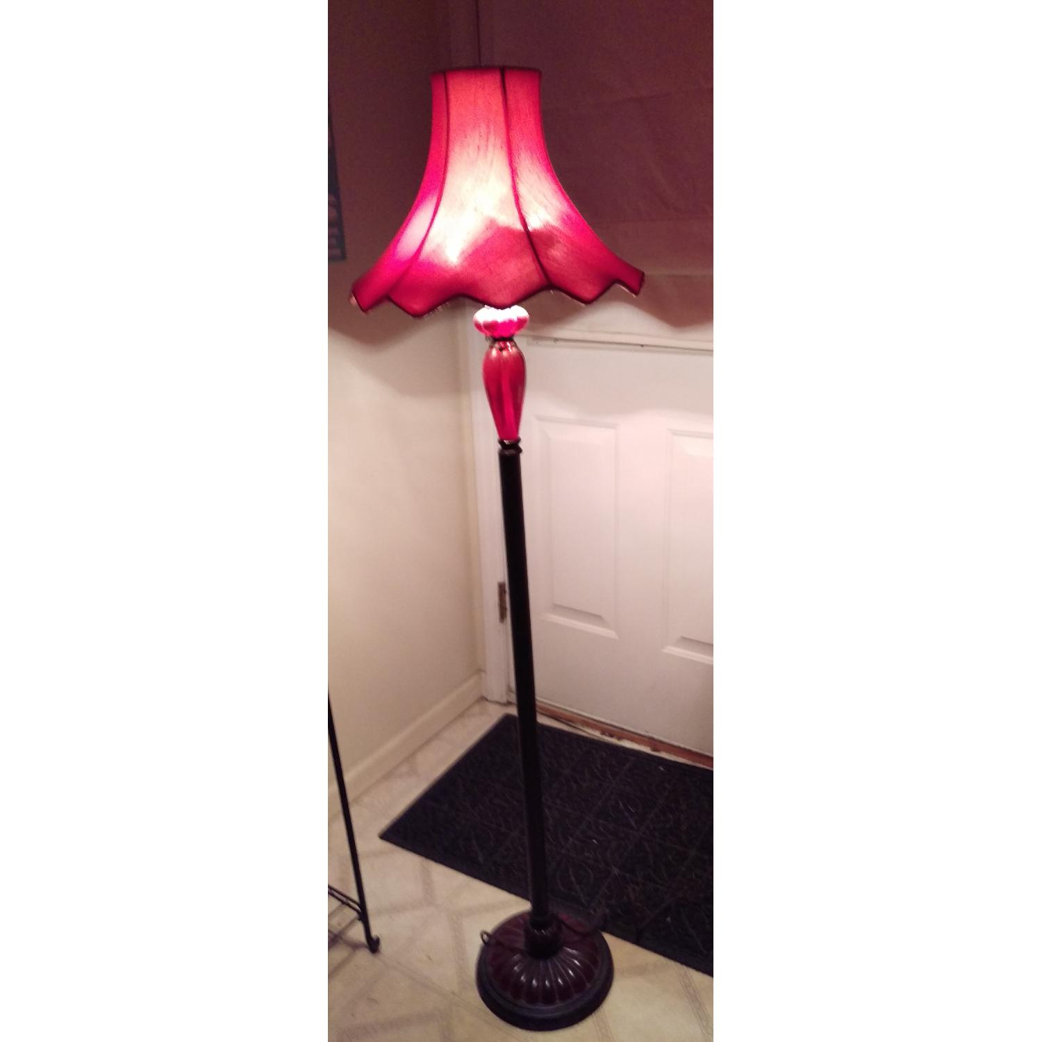 Torchiere Floor Lamp w/ Red Shade-13