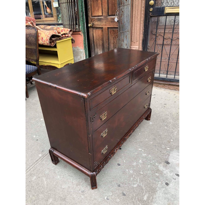Antique 1930s Cherry Wood Oriental Style Dresser-5