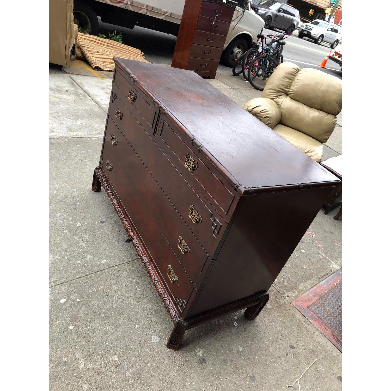 Antique 1930s Cherry Wood Oriental Style Dresser-10