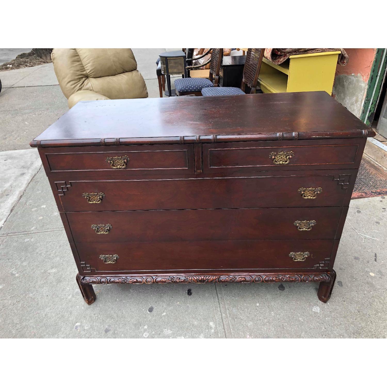 Antique 1930s Cherry Wood Oriental Style Dresser-15