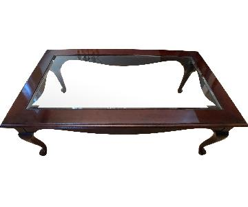 Raymour & Flanigan Glass Top Coffee Table
