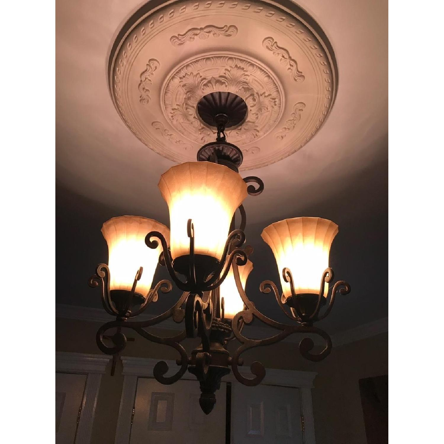 Rustic Themed 4 Light Candelabra Chandelier-0