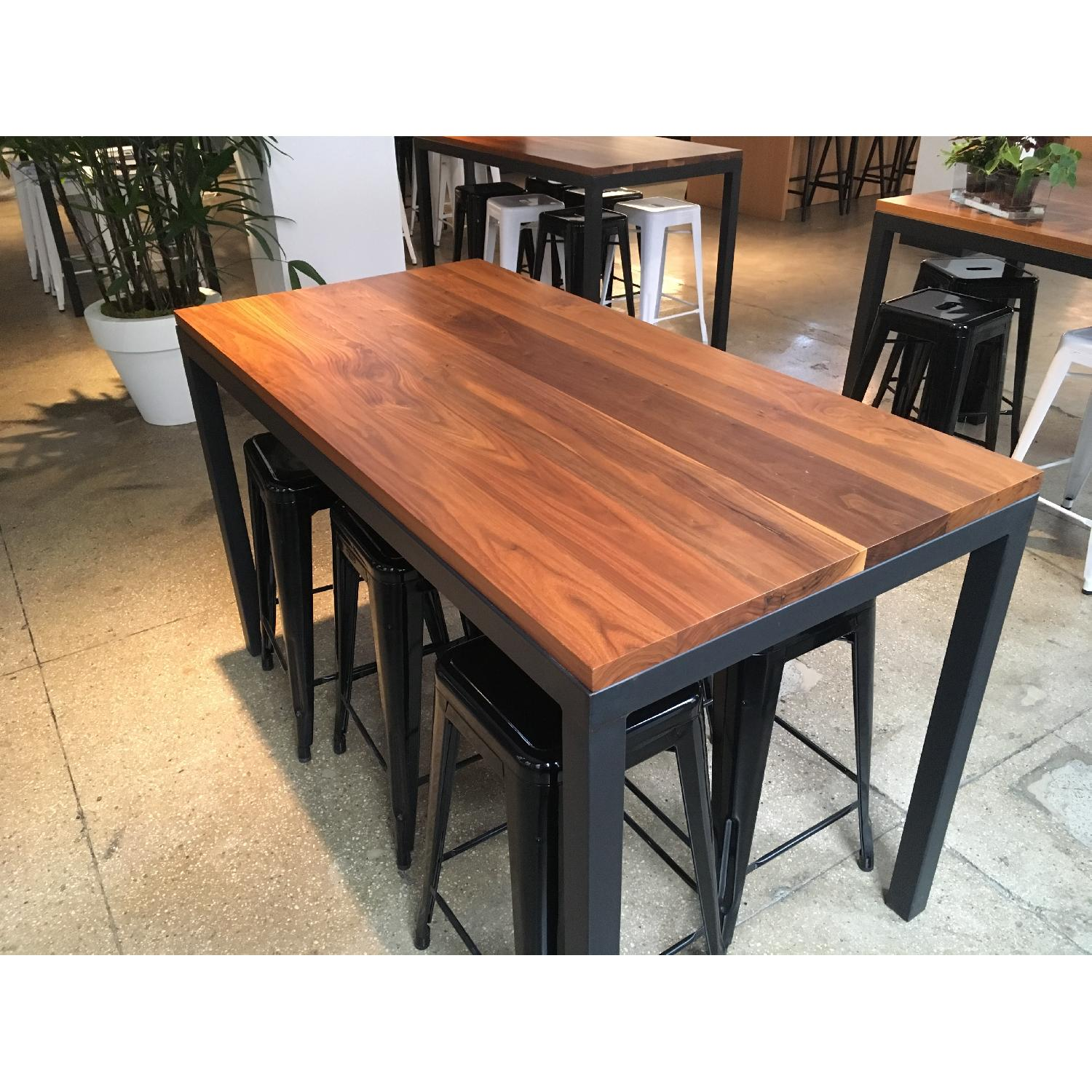 Crate & Barrel Parsons Walnut Counter Table w/ Metal Base-0