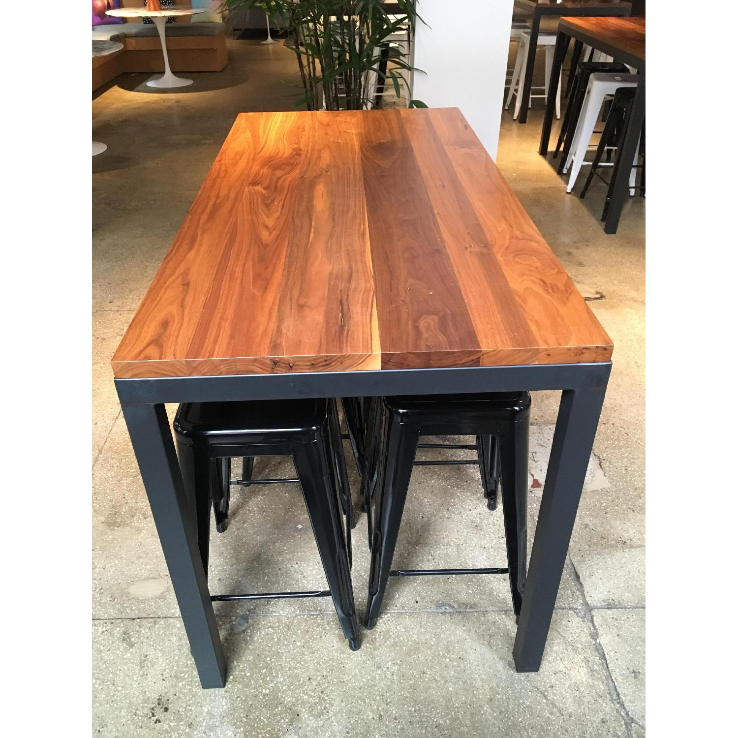 Crate & Barrel Parsons Walnut Counter Table w/ Metal Base-2