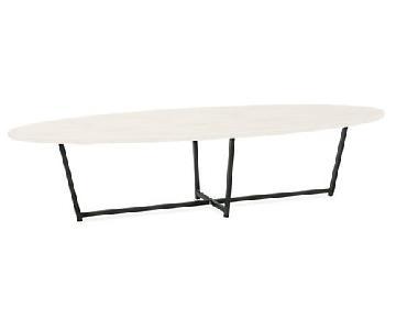 Room & Board Soto White Quartz Coffee Table w/ Steel Base