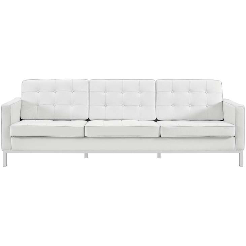 Manhattan Home Design Leather Sofa in Black & White-0