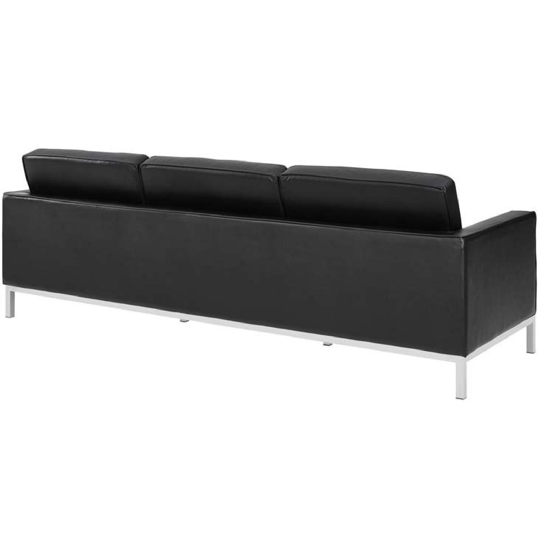 Manhattan Home Design Leather Sofa in Black & White-2