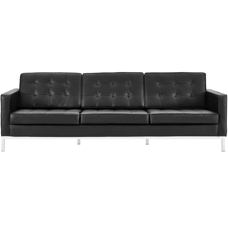 Manhattan Home Design Leather Sofa in Black & White-3
