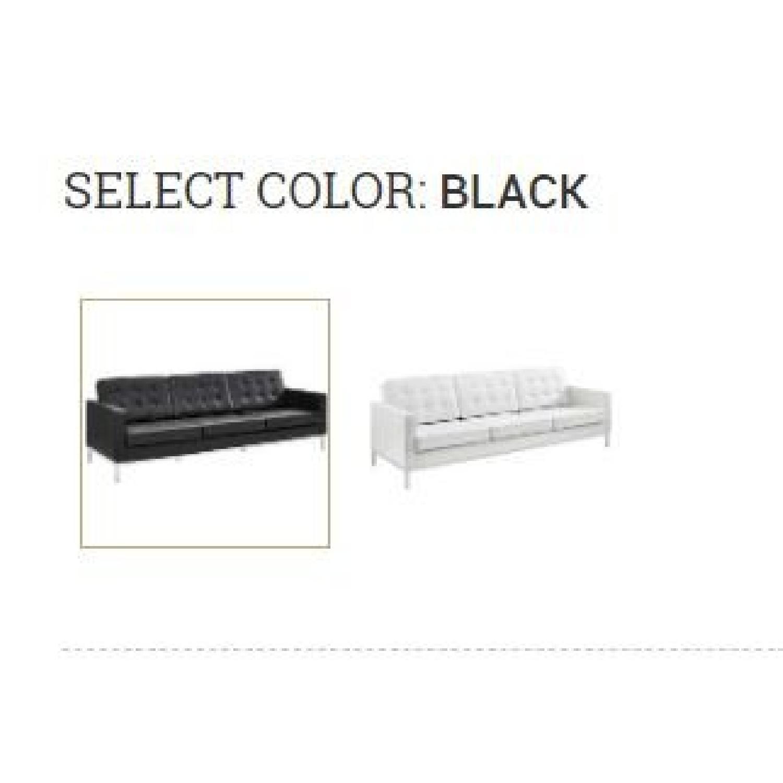 Manhattan Home Design Leather Sofa in Black & White-4