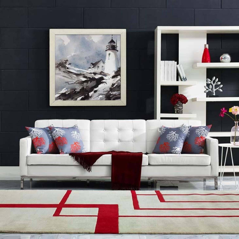 Manhattan Home Design Leather Sofa in Black & White-5