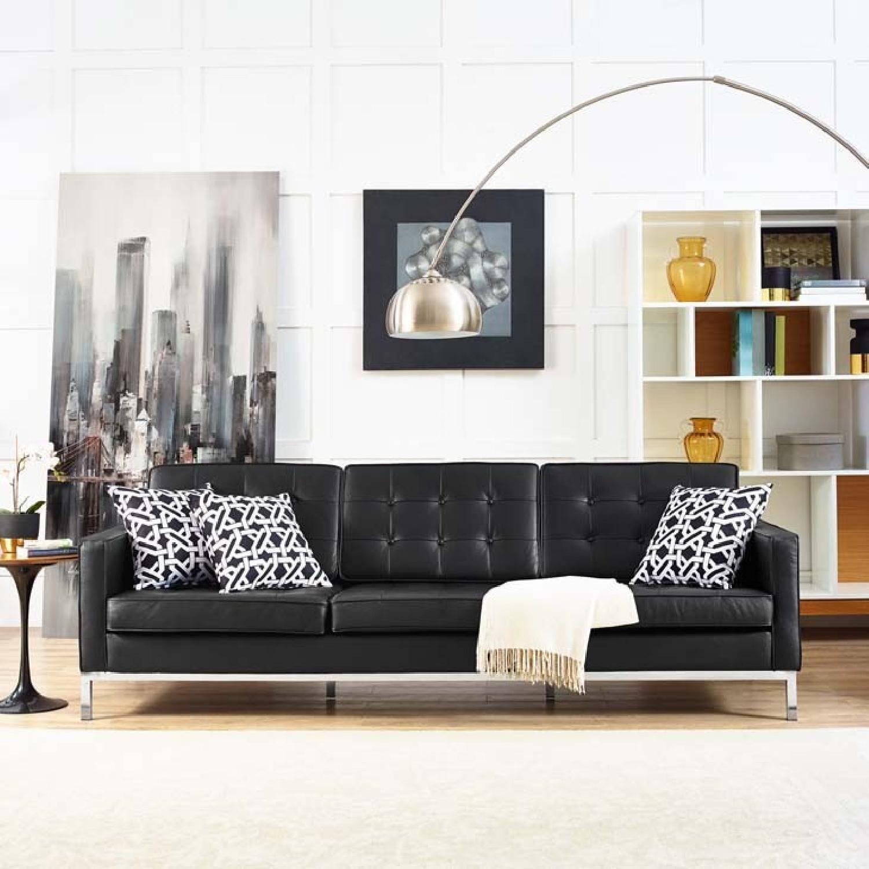 Manhattan Home Design Leather Sofa in Black & White-6