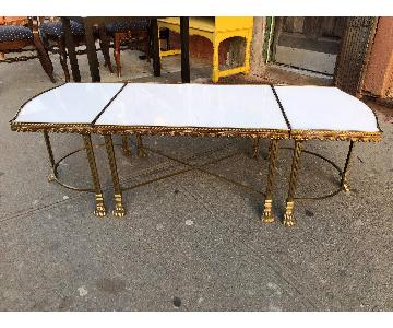 Antique 1930s Brass & White Marble 3 Piece Coffee Table
