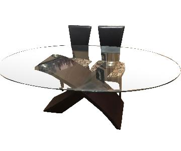 Raymour & Flanigan 5-Piece Glass Top/Espresso Dining Set