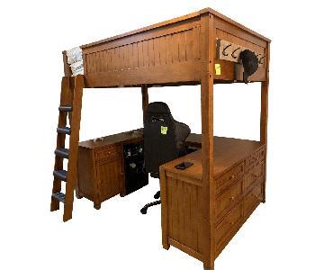Pottery Barn Loft Queen Bed w/ Drawers/Desk & Keyboard