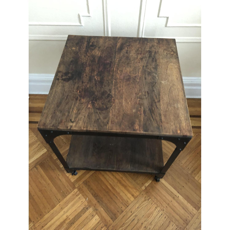 Anthropologie Decker End Table on Wheels-3