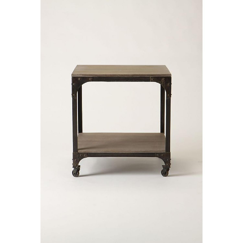 Anthropologie Decker End Table on Wheels-12