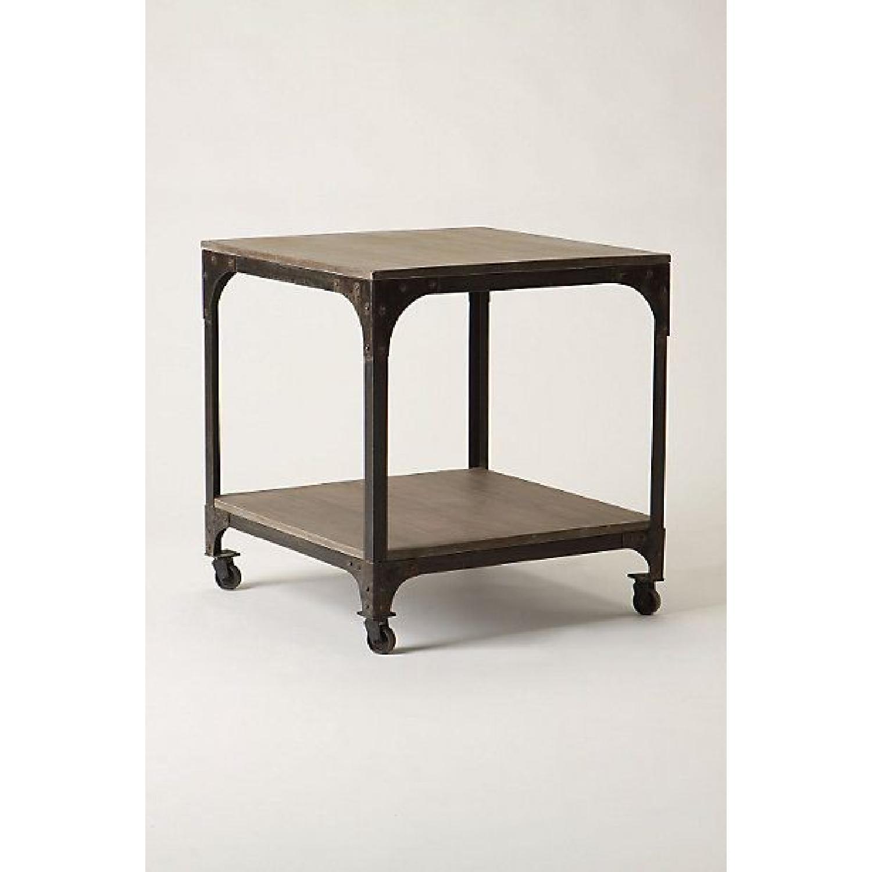 Anthropologie Decker End Table on Wheels-13