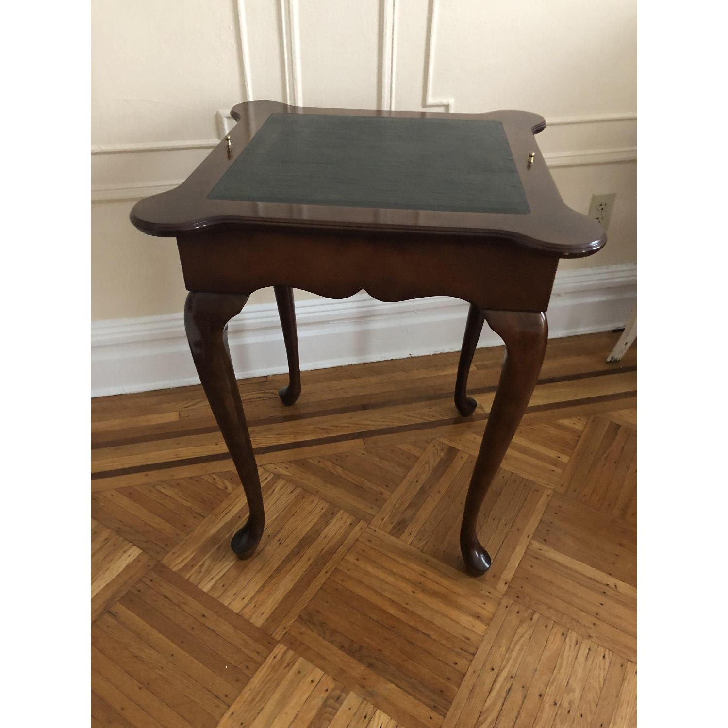 Georgian Style Leather Top Game Table-3