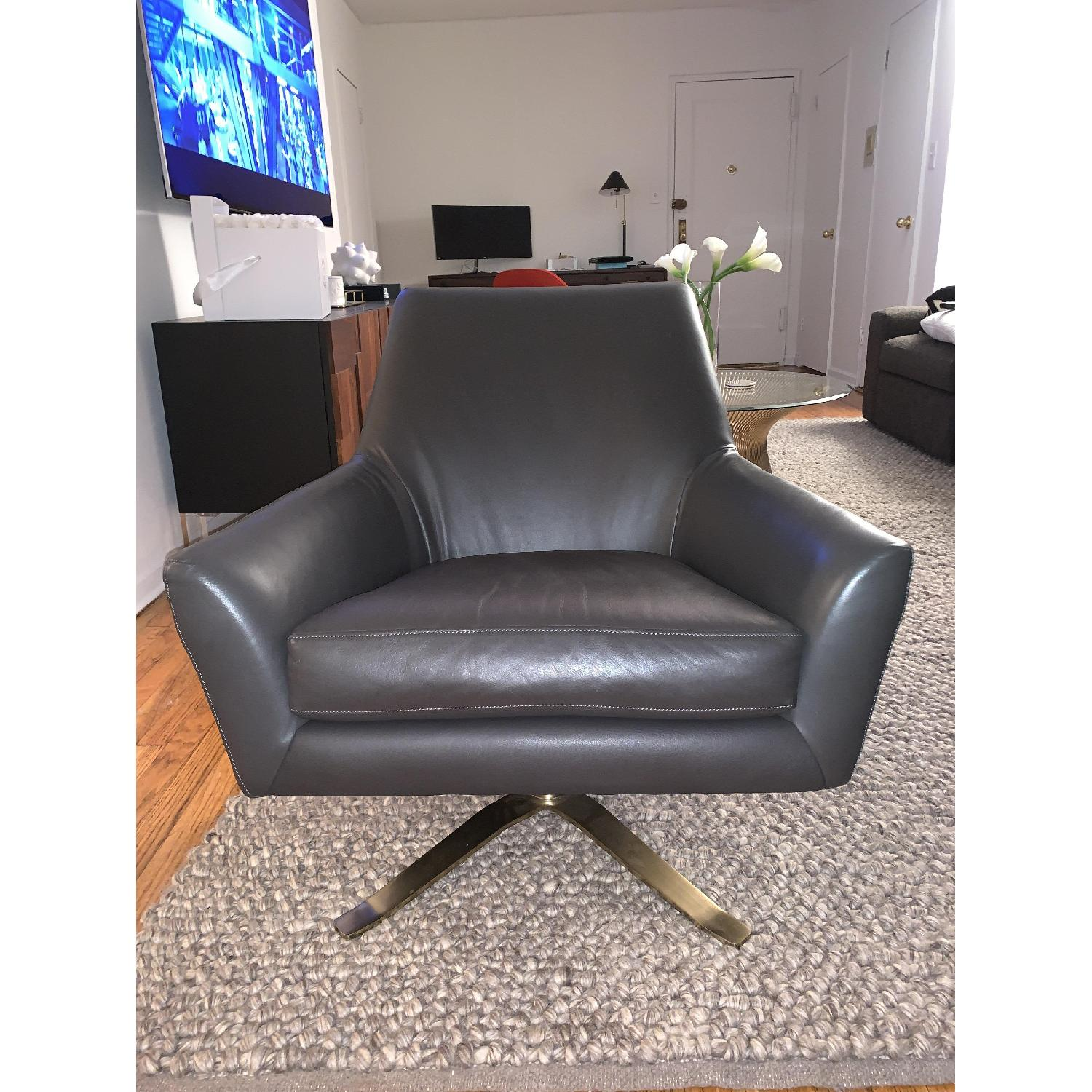 West Elm Lucas Dark Grey Swivel Base Chair w/ Brass Legs-3