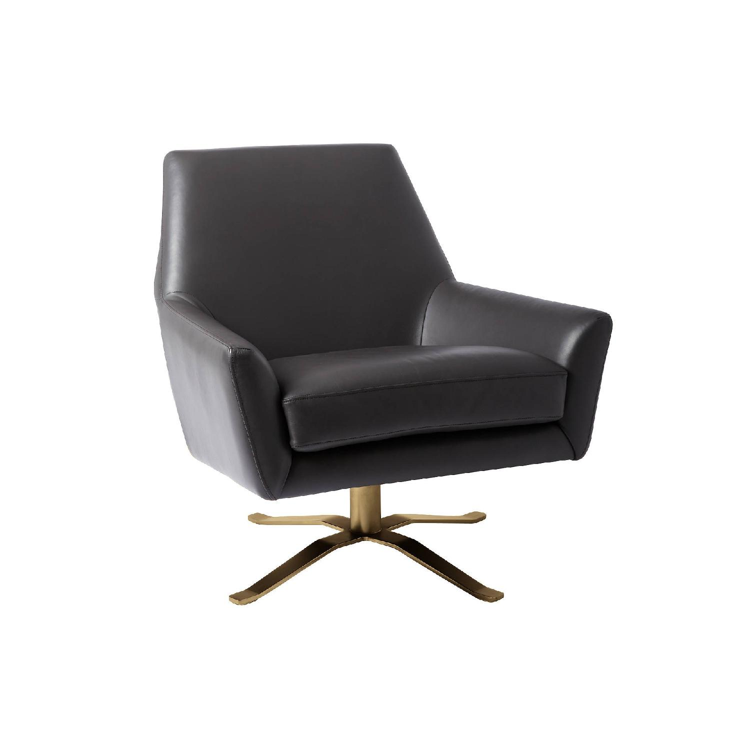 West Elm Lucas Dark Grey Swivel Base Chair w/ Brass Legs