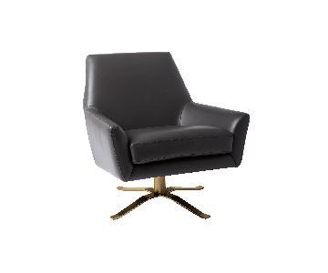 West Elm Lucas Dark Grey Swivel Base Chair w/ Brass Legs