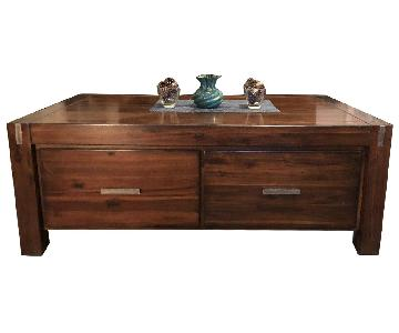 Ethan Allen Wood Coffee Table w/ 4 Storage Drawers