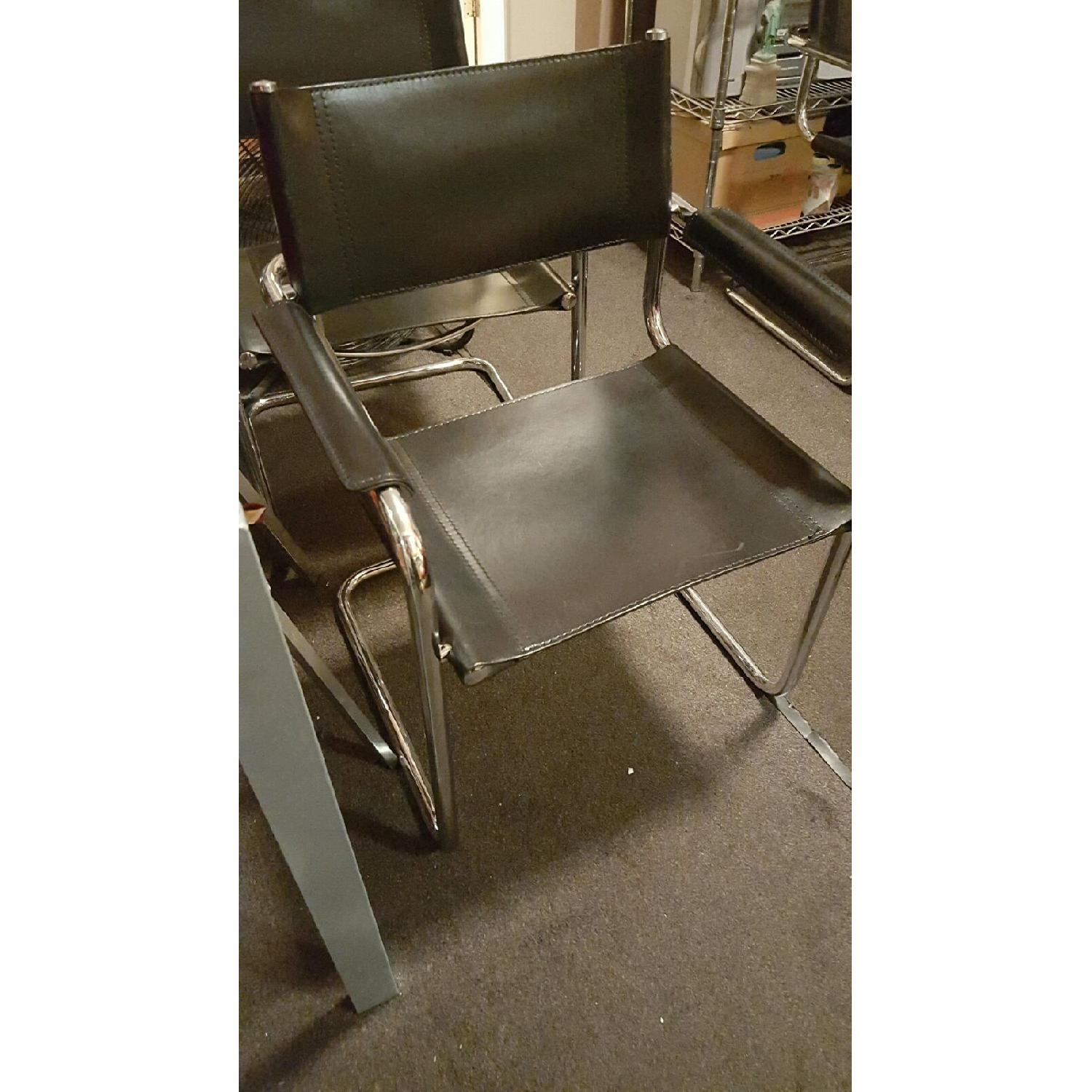 Black Leather & Chrome Office/Dining/Armchair - image-2