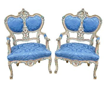 Handcarved French Rococo Accent Chairs